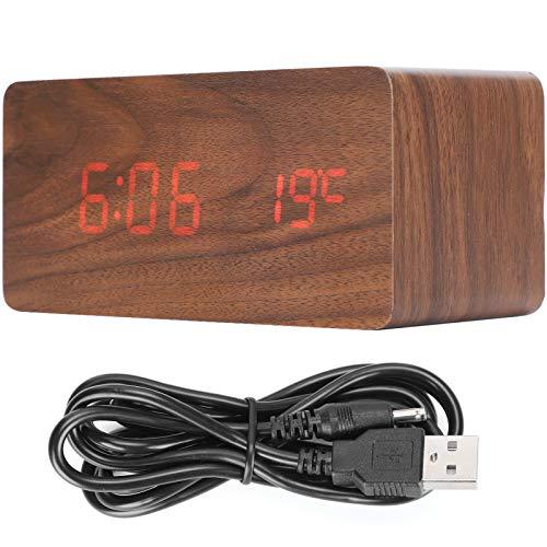 Dongyihunk Reloj de Carga inalámbrico, Alarma electrónica LED Digital, decoración Rectangular de Madera para mesita de Noche