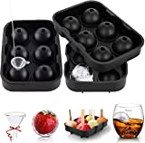LessMo Molde de Hielo Redondo, 2 Paquetes de moldes de Hielo de Silicona XXL con Tapa para Whisky, cócteles y Vino: Flexible, sin BPA y Aprobado por la FDA, Negro