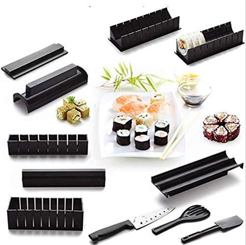 HaoYiShang Accueil Sushi Maker Kit et moules Sushi Maki, Kit de préparation complet 11 pièces (avec couteau), Moule à rouleau de riz Ensemble de cuisine Easy Chef