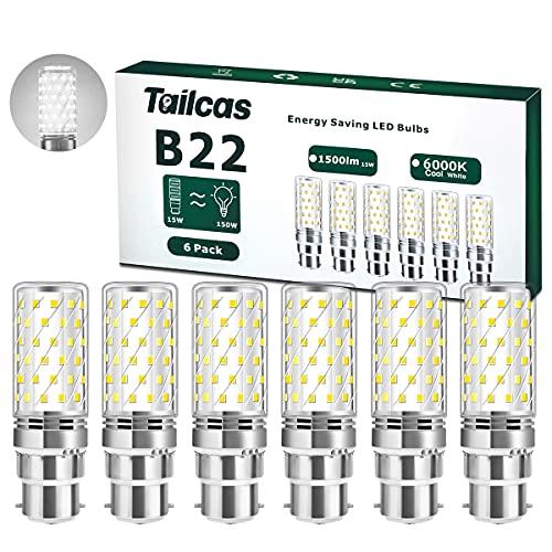6 Pezzi 15W LED B22 Lampadine LED di mais, 6000K Bianco Freddo, Equivalente a 150W alogena Bulbi, 1500Lm Lampadina Baionetta Non Dimmerabile, Nessun Sfarfallio[Classe di efficienza energetica A++]