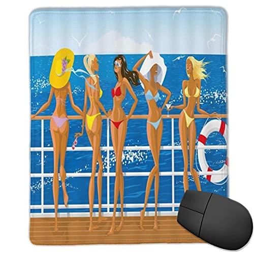 VINISATH Tapis de Souris Gaming Sexy Girl Bikini Girl Yacht Bain de Soleil Sea Breeze Lifeb Seabird Tropical Ocean Holiday Blue Brown sous-Main Bureau Gamer en Tissu,Base antidérapante,250×300×3mm