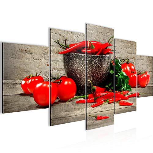 Bilder Küche - Gemüse 5 Teilig Bild auf Vlies Leinwand Deko Wohnzimmer Ziegel Braun Rot 005852a