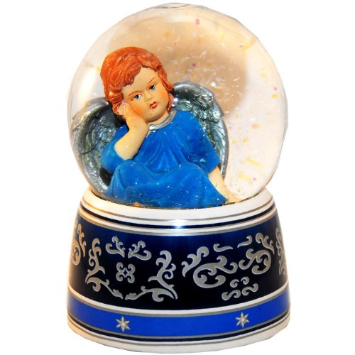 20030 Schneekugel Engel blau mit Spieluhr 140mm hoch