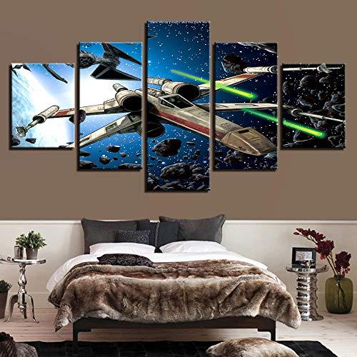 SFDHG 5 lienzos decoración Guerra de Las Galaxias Cuadros en lienzoartwork decoración dedecoración de Interiores-No Frame-110x60Cm