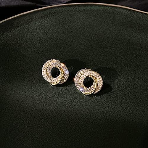 Landia Pendientes de Perlas de Oro Real de 14 Quilates para Mujer, joyería Brillante de circonita AAA con Aguja de Plata S925, Gran Oferta para Banquete de Boda