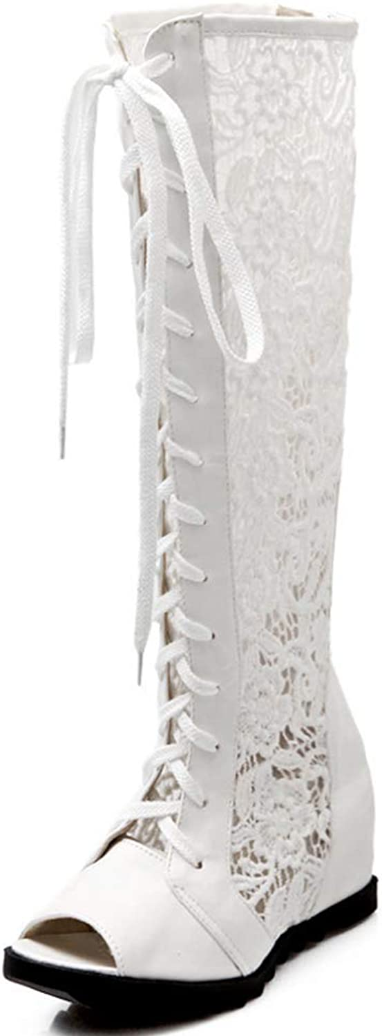 Vimisaoi Women Lace Fabric Round Open Peep Toe Cross Lacing Back Zipper Knee High Long Increased Gift Boots
