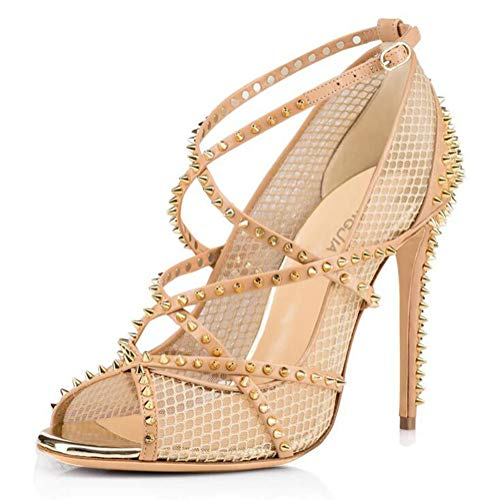BZGG Mujer Sexy Stiletto Sandalias Zapatos de tacón Diseño de Rejilla con...