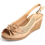 Alexis Leroy Women's Peep Toe Hollow Out Slingback Platform Wedge Sandals Apricot 9 US