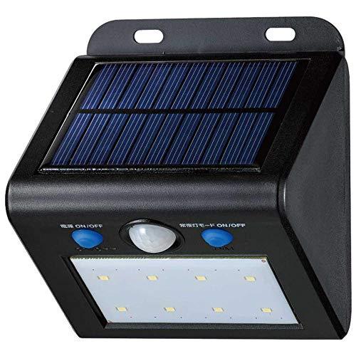 ソーラー発電式の人感センサー付ライト。 ELPA(エルパ) 屋外用 LEDセンサーウォールライト ソーラー発電式 電球色 ESL-K101SL(L) 〈簡易梱包