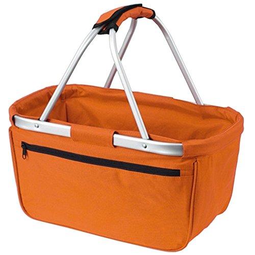 HALFAR® HF3939 Shopper Basket Einkaufskorb Korb mit Aluminiumgestäng faltbar , Farbe:ORANGE