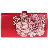 kaxidy pochette da cerimonia borse a tracolla borse eleganti pochette da giorno (rosso)