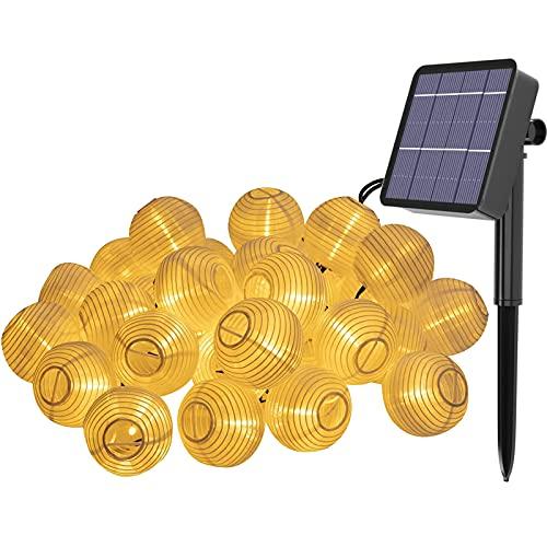 Farolillos Solares Exterior LED Guirnaldas,LED Guirnaldas de Luces,Farolillos Solares Exterior,Luces Exteriores Linternas Farolillos Decorativos,LED Farolillos Solares Exterior Impermeable (6.5M)