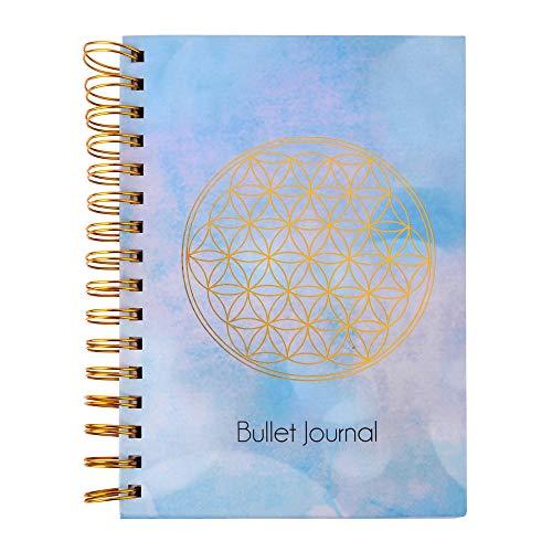ewtshop® Bullet-Journal Blume des Lebens, DIN A5, 216 gepunktete Seiten, Spiralbindung, Notizbuch, Planer, Tagebuch