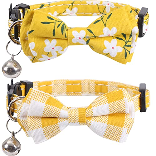 Lamphyface 2 Pack/Set Cat Collar Breakaway with Cute Bow Tie and Bell Plaid Flower for Kitty Adjustable Safety
