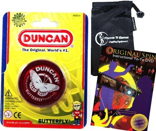 Duncan Butterfly YoYo (Red) Beginners Entry-Level Yo Yo with Travel Bag + 75 Yo-Yo Tricks DVD! Great...