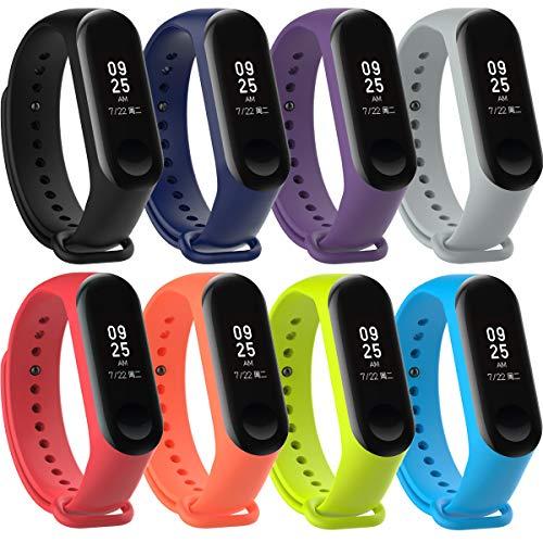 KZIOACSH 8 Pièces Bracelet pour Xiaomi Mi Smart Band 4 / Mi Band 3, Bracelet de Silicone Remplacement de Sangle colorée
