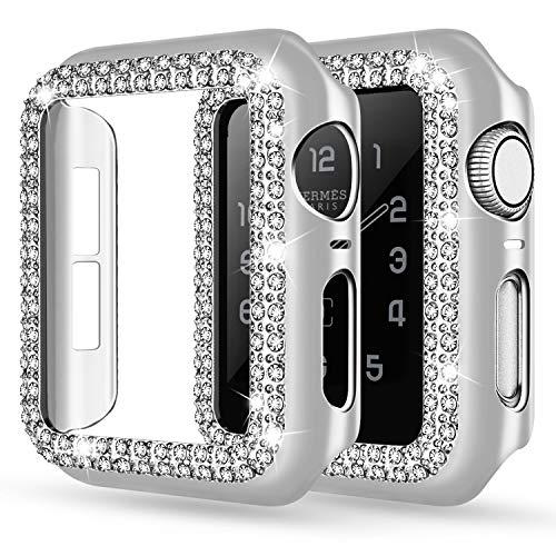 Adepoy - Custodia protettiva con strass per Apple Watch, 38 mm, 40 mm, 42 mm, 44 mm, custodia protettiva per Apple Watch serie 5/4/3/2/1