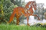KUHEIGA Gartenstecker Pferd Edelrost, Rost H: 70cm Pflanzstecker Gartenstab Gartendeko Rost