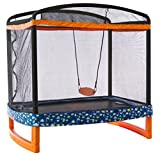 JUMP POWER 72' x 50' Rectangle Indoor/Outdoor Trampoline & Safety Net with Swing Combo. for Toddlers...