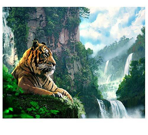 Bricolaje Pintura Diamante Tigre Completo Cuadrado Bordado Diamante Punto de Cruz Diamante de imitación Diamante Mosaico Animal Tigre Afición