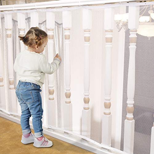 Banister Guard for Baby - 15ft x 3ft, Child Safety Net, Rail Balcony Banister Stair Mesh for Kids, Toys, Pets - White