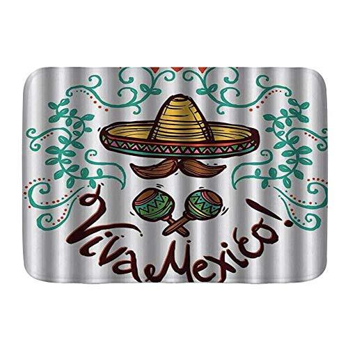 NA Alfombra de baño Alfombra Antideslizante, Estilo Mexicano Mexicano, boceto, Adorno Floral, decoración de Arte Hispano, alfombras de Microfibra Modernas para baño, Alfombra de baño Suave