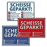 trendaffe Scheisse Geparkt! Notizblöcke im 3er Set - Notizzettel Notizbuch Schreibblock