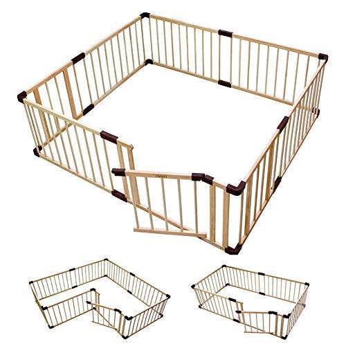 HXCD Box per bambini pieghevole in legno per bambini con porta, cortile di gioco sicuro deformabile per centro attività per bambini o recinzione per caminetto (dimensioni: 180 volt; 240 cm)