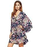 Milumia Women Boho Floral Print Flared Vacation Flowy V Neck Mini Dress Purple X-Large