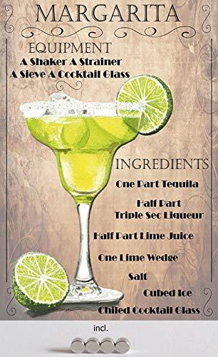 Metalen bord 20 x 30 cm gebogen, incl. Margarita Tequila Limone-ijs met magneten, voor cocktails, recept, decoratief geschenk, 4 stuks