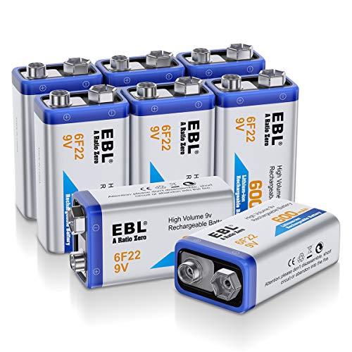 EBL 8 Unidades 9V 600mAh Pilas Recargables Li-Ion Alta Capacidad para Alarmas, Dispositivos Médicos, Juquetes y Relojes