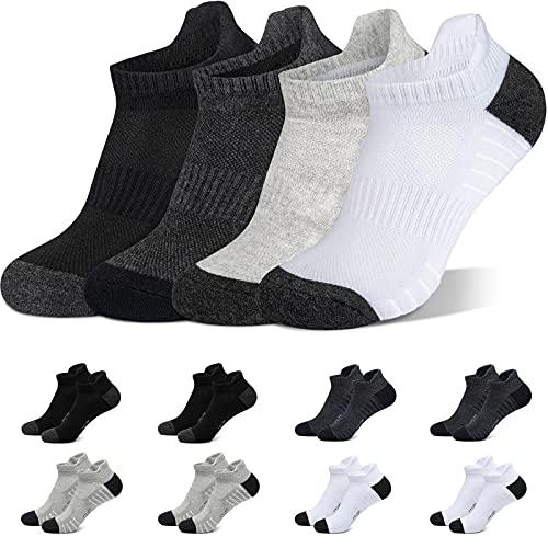YINXIZ Calcetines Cortos Hombre 43-46 Negro Blanco Gris Gris Oscuro Calcetin Tobilleros Mujer 8 Pares Deportivos Algodon Transpirables