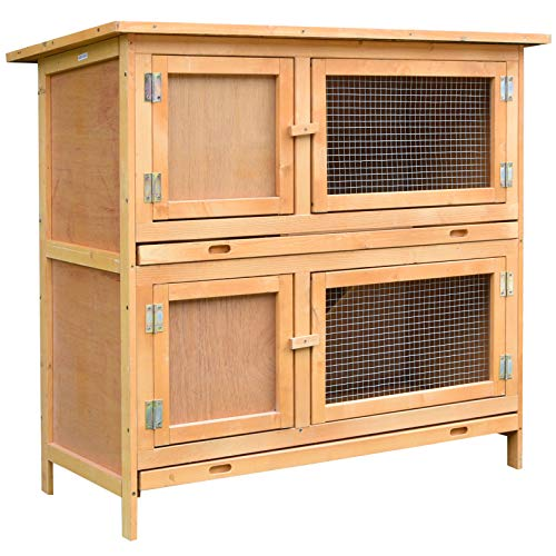 PawHut Solid Wood Rabbit/Bunny Hutch with 2 Large Main Rooms, Protection from UV Rays and Water, and Firm Cage, Yellow
