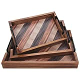 【EXQUISITE CRAFTSMANSHIP】The wooden trays are made of natural wood, makes them durable and sturdy, not easy to crack. Due to its gorgeous multi-color wood patterns, it looks vintage and unique , can bring a decorative touch to any space. 【MULTI-FUNCT...