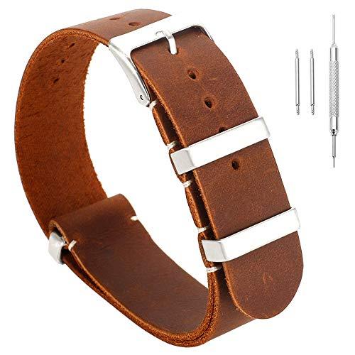 22mm decente reemplazo Hechos a Mano Pulseras de Reloj de Cuero de la Vendimia de los Hombres exquisitos Cuero curtido de Color marrón Oscuro