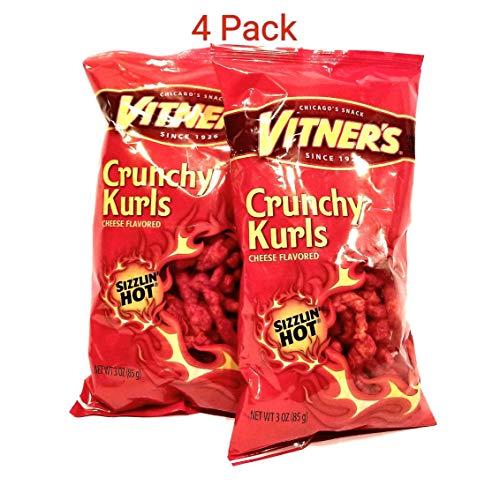 Vitner's Sizzlin Hot Cheese Crunchy Curls A Chicago Original 4-3oz Bags