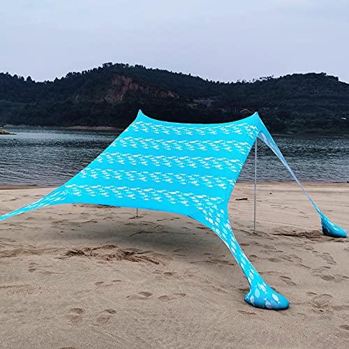 KLFD Tienda de Playa Portátil Carpas para Playa Refugio Protección UV UPF50+ con Postes de Aluminio y Anclajes de Arena Rellenables para Picnic en la Playa Pesca Camping