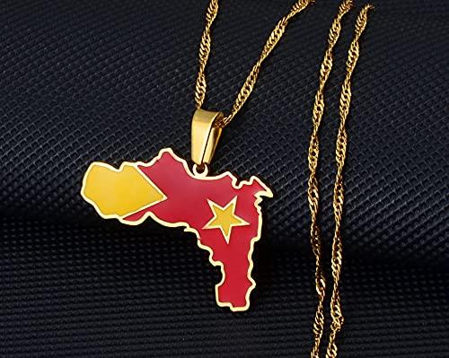 Collar De Mapa Del Mundo, Recuerdo De Etiopía, Región De Tigray, Mapa De La Bandera, Colgante De Signo, Joyería De Moda Unisex, Personalidad, Collar De Decoración Creativa Fina Vintage, Oro, 60 Cm