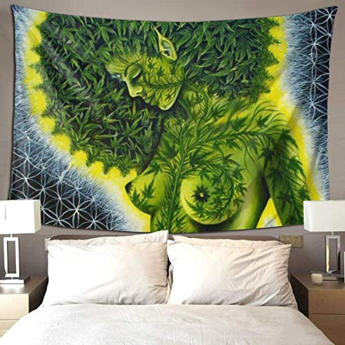 QSMX Hippie Hippy Wall Tapestry Beauty Green Marijuana Weed Leaf Tapestry Wall Hanging Tapestry for Bedroom Dorm Accessories Mandala Yoga Picnic Mat Ethnic Tapestry, 80x60 inches