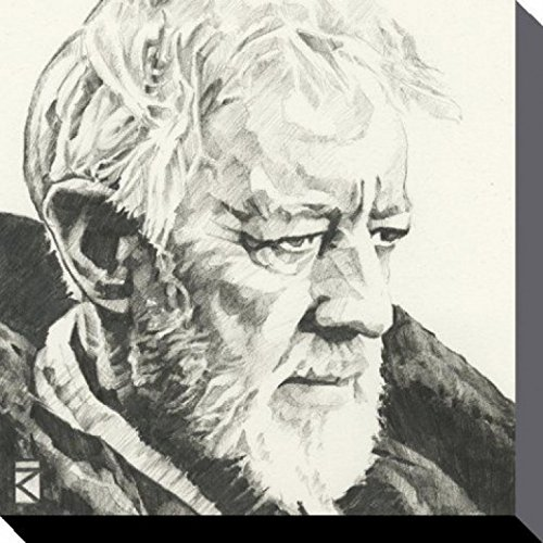 1art1 Star Wars - Obi-Wan Kenobi Portrait Zeichnung Bilder Leinwand-Bild Auf Keilrahmen | XXL-Wandbild Poster Kunstdruck Als Leinwandbild 30 x 30 cm