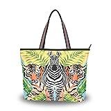 Ahomy Große Strandtasche Zebra Tiger Tropical Leaf Reise Tote Bag Urlaub Shopping Handtaschen,...