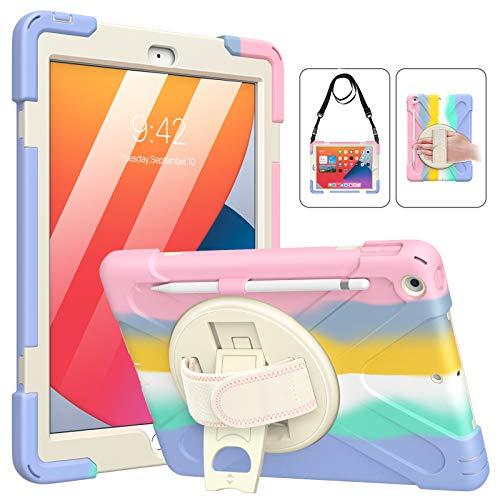 MoKo Funda para Nuevo iPad 8ª Generación 10.2' 2020/ iPad 7ª Gen 2019, Protectora Cubierta con Soporte de Rotación de 360 Grados, Correa de Mano / Hombro, Soporte de Pencil, Multicolor B