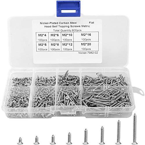 800 Selbstschneidende Schrauben, Ultra Beständiges Vernickeltes Silberflachkreuzschraube, für Elektronische Geräte, Maschinen, Bau
