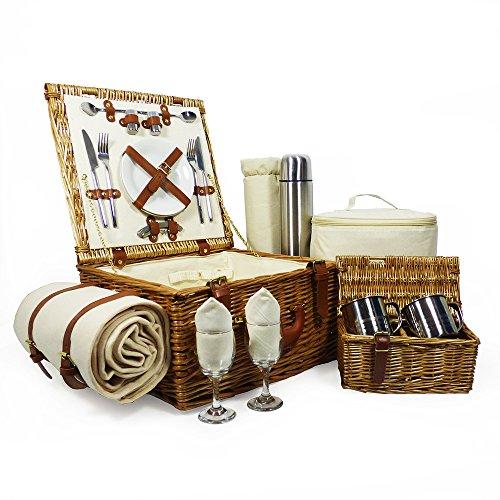 Luxe picknickmand 'Harpenden' voor 2 personen met accessoires - perfect cadeau voor verjaardag, huwelijk, jubileum, pensionering