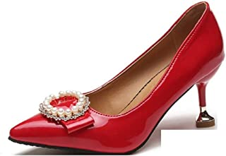 THE LONDON STORE Women's Pumps Thin Heel Rhinestone Pointed Toe Ankle Pumps Slip On Lady Metal High Heel Office Shoes