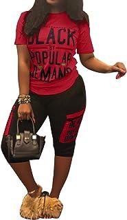 Womens 2 Piece Outfits Tracksuit Letter Print Bodycon Pants Plus Size Joggers Sportswear Set Clubwear