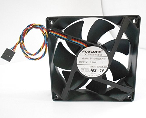 FOXCONN DC Brushless Fan PV123812DSPF 01 P/N NN495 120mm x 38mm, 0.90 A, 12 V, 150 CFM, 4 wire, 5-pin connector