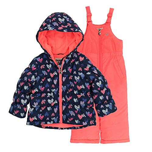 DKNY Baby Girls 2-Piece Snowsuit with Heavy Puffer Jacket and Snow Bib Pants Infant//Toddler