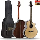 Leo Jaymz 41' SOLID Spruce Top Acoustic Guitar with D'Adario EXP-16 Coated Phosphor Bronze String - Sitka Spruce Top with Comfortable Armrest - Rosewood Back and Side