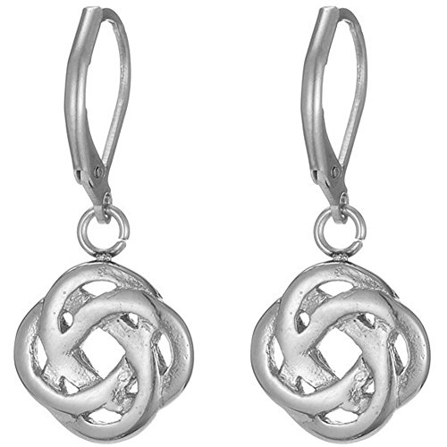 Stainless Steel Celtic Love Knot Classical Simple Plain Earrings (Silver)